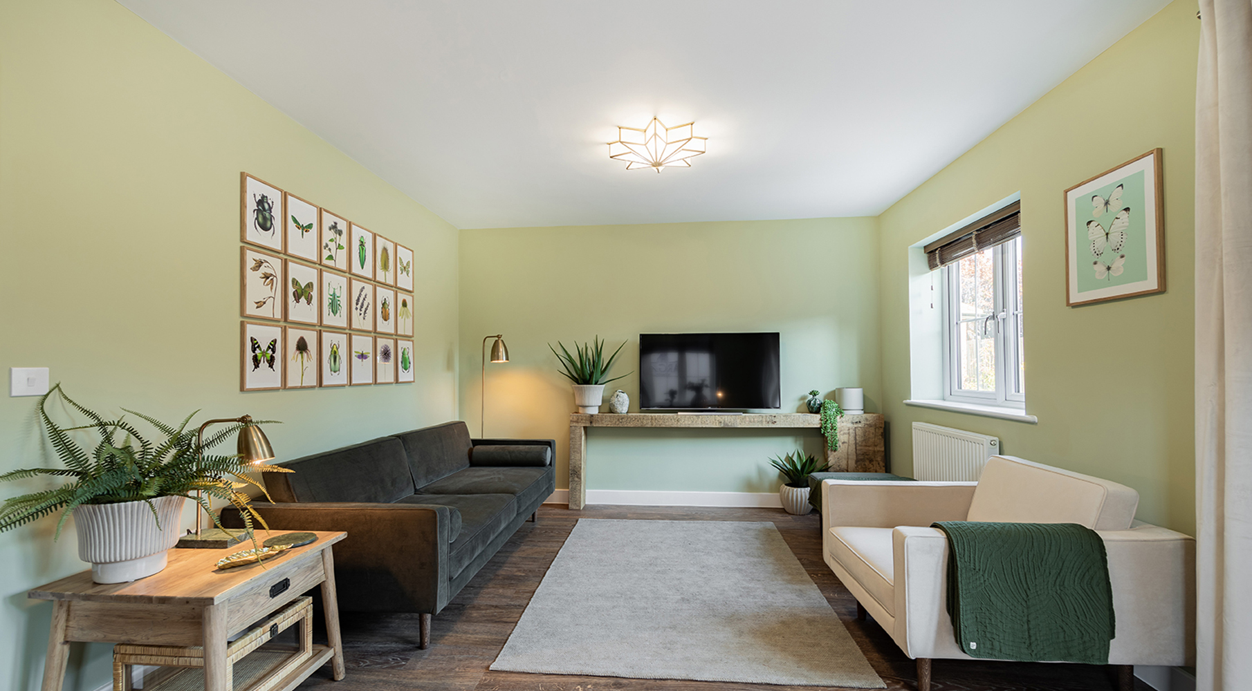 The Fallow green themed living room