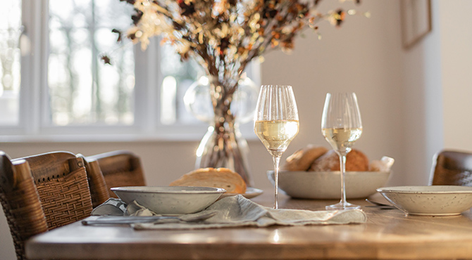 Dining room with wine glasses